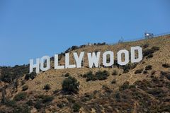 The famous Hollywood Sign on Mount Lee in Los Angeles, seen from Mulholland Drive. CA. USA Stock Images