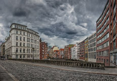 Famous Holzbrucke (so-called wooden bridge) with colorful buildings in Hamburg, Germany Royalty Free Stock Images