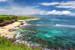 Famous Hookipa beach, popular surfing spot filled with a white sand beach, picnic areas and pavilions. Maui, Hawaii. USA Stock Photos