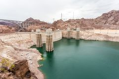 The famous Hoover Dam hydroelectric power plant at the Nevada-Ar Royalty Free Stock Images