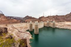 The famous Hoover Dam hydroelectric power plant at the Nevada-Ar royalty free stock photos