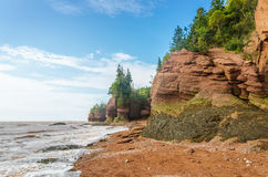 Famous Hopewell Rocks flowerpot formations at low tide Royalty Free Stock Photos