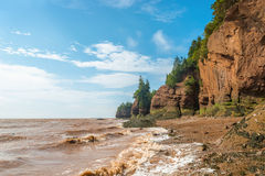 Famous Hopewell Rocks flowerpot formations at low tide Stock Photos