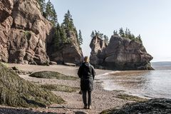 Famous Hopewell Rocks geologigal formations at low tide biggest tidal wave Fundy Bay New Brunswick Canada Stock Photo