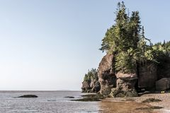 Famous Hopewell Rocks geologigal formations at low tide biggest tidal wave Fundy Bay New Brunswick Canada Royalty Free Stock Image