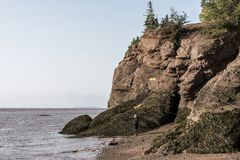 Famous Hopewell Rocks geologigal formations at low tide biggest tidal wave Fundy Bay New Brunswick Canada Stock Photography