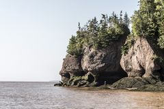 Famous Hopewell Rocks geologigal formations at low tide biggest tidal wave Fundy Bay New Brunswick Canada Stock Photos