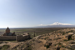 Famous Hor Virap Monastery with Ararat Mountain in background. Armenia. Famous Hor Virap Monastery with Ararat Mount in background. Armenia Royalty Free Stock Images