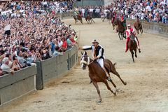 The famous horse race `Palio di Siena` stock photography