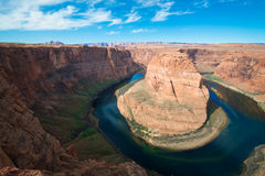 The famous horse shoe bend and Colorado River Royalty Free Stock Images
