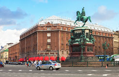 Famous hotel Astoria and bronze monument of russian emperor Nich Royalty Free Stock Photo