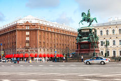 Famous hotel Astoria and bronze monument of russian emperor Nich Stock Photos