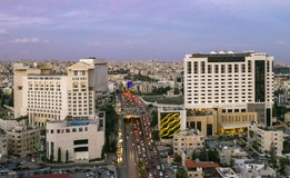 Famous hotels in Amman city in jordan. Traffic jam at fifth circle in Amman - Famous hotels in Amman city in jordan royalty free stock photo
