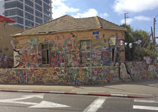 Famous house painted with graffity Tel Aviv, Israel Stock Photography