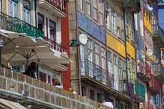 The famous houses of the Ribeira in the Douro River, Porto, royalty free stock photo