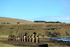 The famous 15 huge Moai statues of Ahu Tongariki archaeological site, UNESCO World Heritage Site on Easter Island, Chile. South America royalty free stock photos