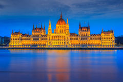 The famous Hungarian Parliament at night,Budapest,Hungary,Europe Royalty Free Stock Photos