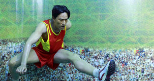 Famous hurdler liu xiangs wax figure Royalty Free Stock Photography