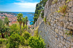 Famous Hvar island wall and harbor view Stock Photo