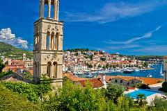 Famous Hvar yachting waterfront view Royalty Free Stock Images