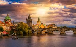 Free Famous Iconic Image Of Charles Bridge At Sunset In Spring, Prague, Czech Republic. Concept Of World Travel, Sightseeing And Stock Photography - 111607422