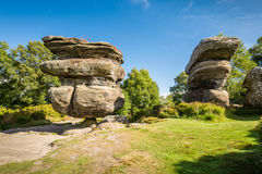 The famous Idol Rock. Brimham Rocks on Brimham Moor in North Yorkshire are weathered sandstone, known as Millstone Grit,creating some dramatic shapes, many of Royalty Free Stock Photography