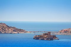 Famous If castle, Chateau d`If, Marseille, France. Views of Marseille bay and famous If castle, Chateau d`If, at Frioul archipelago at sunny day royalty free stock image