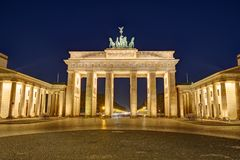 The famous illuminated Brandenburger Tor in Berlin stock images