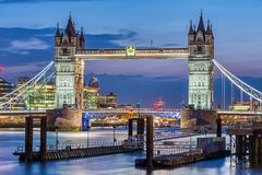 The famous illuminated Tower Bridge stock photo
