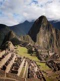 Famous Inca city Machu Picchu. Vertical overview of the ruins of the famous Inca city Machu Picchu in the sacred Urubamba valley near Cuzco in Peru Stock Photography