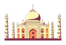 Famous Indian Building of Taj Mahal Illustration. Famous Indian building of Taj Mahal with rounded roofs, tall towers and pattern on walls vector illustration on vector illustration