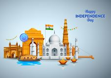 Famous Indian monument and Landmark for Happy Independence Day of India. Illustration of Famous Indian monument and Landmark for Happy Independence Day of India royalty free illustration