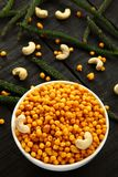 Famous Indian snack Boondi,top view. Traditional Indian spicy snack boodi,bhoondi,bundi served in bowl stock image