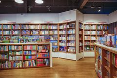 Famous international books for sale in the Libri bookstore, one of the book retailers in Ukraine. - image royalty free stock photo