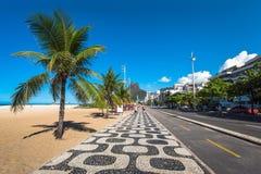 Iconic Sidewalk at Ipanema Beach in Rio de Janeiro Stock Images