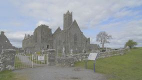 Famous irish landmark, quin abbey, county clare, ireland stock video footage