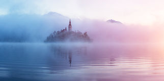 Famous island with old church in the city of Bled Stock Image