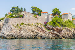 The famous island of Sveti Stefan in Adriatic sea near Budva. Montenegro Royalty Free Stock Photography