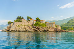 The famous island of Sveti Stefan in Adriatic sea near Budva. Montenegro Stock Photography