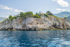The famous island of Sveti Stefan in Adriatic sea near Budva. Montenegro Royalty Free Stock Photo