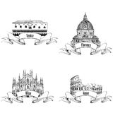 Famous italian city label set: Rome, Milan, Venice, Florence. La. Ndmarks of Italy: Dome cathedral in Milan, Doge's palace in Venice, Cathedral Santa Maria del Royalty Free Stock Photos