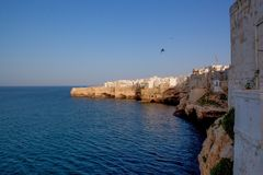 The famous Italian cliffs and town of Polignano a Mare. Puglia stock images