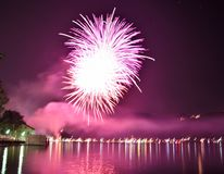 Fireworks show on the lake stock photo