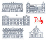 Famous Italy buildings architecture vector icons Stock Photo