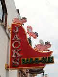 "Famous Jack's BBQ, Broadway Street Downtown Nashville. Jack's BBQ self acclaimed BBQ King of Nashville, Proudly serving barbeque from ""Pit to Plate royalty free stock image"