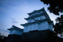 A famous Japanese castle in sunset. 