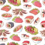 Japanese cuisine dishes on white background. Famous japanese cuisine dishes. Seamless pattern with octopus, oysters, tuna, nigiri, sushi roll with shrimps Stock Photos