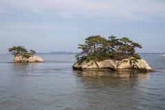 Famous Japanese islands at Matsushima Royalty Free Stock Image