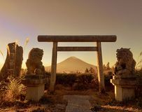 Japanese Torii Gate and Mt. Fuji stock photo