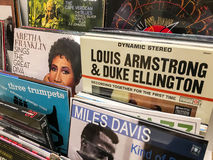 Famous Jazz Music For Sale In Music Media Shop. BUCHAREST, ROMANIA - SEPTEMBER 20, 2016: Vinyl Records Featuring Famous Jazz Music For Sale In Music Media Shop Stock Photography